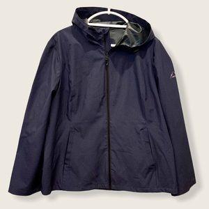 NWOT HFX men's navy hooded zip front rain jacket